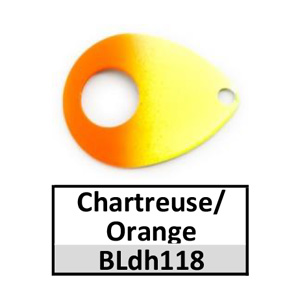 Size 5 Colorado Double Hole Custom Painted Spinner Blades – chartreuse/orange BLdh118