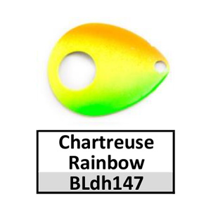 Size 5 Colorado Double Hole Custom Painted Spinner Blades – chartreuse rainbow BLdh147