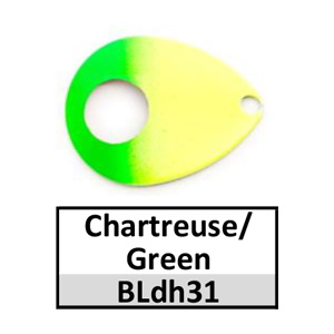 Size 5 Colorado Double Hole Custom Painted Spinner Blades – chartreuse/green BLdh31