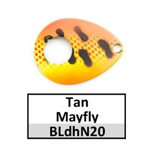 Size 5 Colorado Double Hole Custom Painted Spinner Blades – tan mayfly BLdhN20