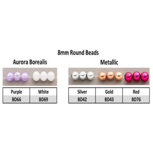 8mm Aurora Borealis and Metallic Round Beads