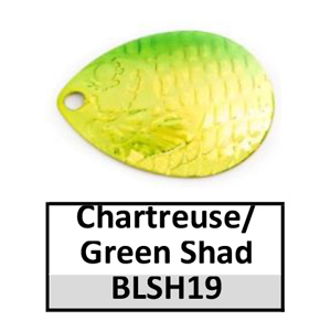 Size 4 Colorado Proscale Spinner Blades – chartreuse/green shad BLSH19