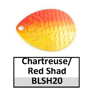 Size 4 Colorado Proscale Spinner Blades – chartreuse/red shad BLSH20