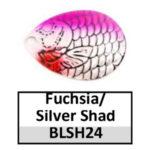 fuchsia/silver shad