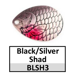 Size 3 Indiana Proscale Spinner Blades – black/silver shad BLSH3