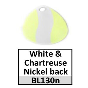 Size 3½ Colorado Striped/2 Tone Basic Spinner Blades – white-chartreuse nickel back BL130n/BL5n