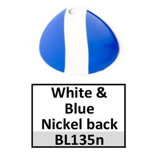 Size 1 Colorado Striped/2 Tone Basic Spinner Blades – white-blue nickel back BL135n