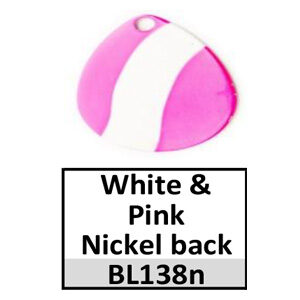 Size 2 Colorado Striped/2 Tone Basic Spinner Blades – white-pink nickel back BL138n