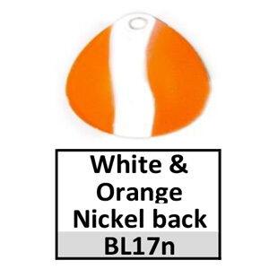 Size 5 Indiana Striped/2 Tone Basic Spinner Blades – white-orange nickel back BL17n/BL163n
