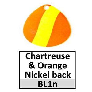 Size 4 Indiana Striped/2 Tone Basic Spinner Blades – chartreuse-orange nickel back BL1n