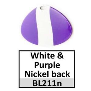 Size 2 Colorado Striped/2 Tone Basic Spinner Blades – white-purple nickel back BL211n