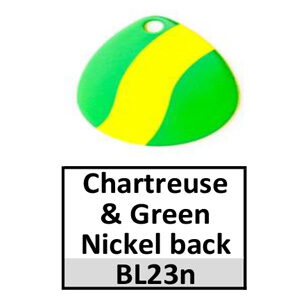 Size 3 Colorado Striped/2 Tone Basic Spinner Blades – chartreuse-green nickel back BL23n