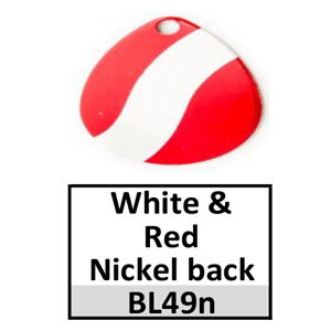 Size 5 Indiana Striped/2 Tone Basic Spinner Blades – white-red nickel back BL49n/BL157n