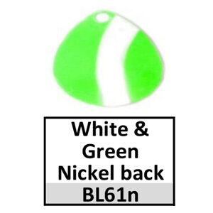 Size 1 Colorado Striped/2 Tone Basic Spinner Blades – white-green nickel back BL61n/BL141n
