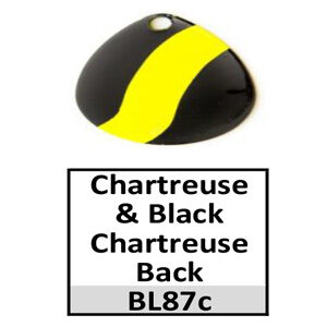 Size 2 Colorado Striped/2 Tone Basic Spinner Blades – chartreuse-black chartreuse back BL87c