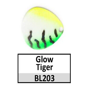 Size 8 Colorado Tiger Stripe Pattern Basic Spinner Blades – 203 Glow Tiger