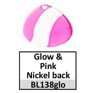 Size 4 Indiana Striped/2 Tone Basic Spinner Blades – glow-pink nickel back BL138glo