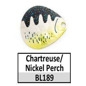 Size 3 Colorado Baitfish Perch Pattern Basic Spinner Blades – chartreuse/nickel perch BL189