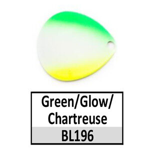 Size 4 Colorado Rainbow/Tricolored Basic Spinner Blades – Green/Glow/Chartreuse BL196