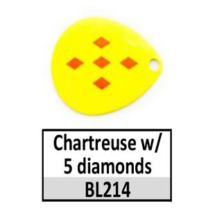 Size 3 Indiana Multi Dotted Basic Spinner Blades – Chartreuse w/ 5 diamonds BL214