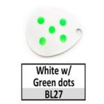 White w/ Green dots