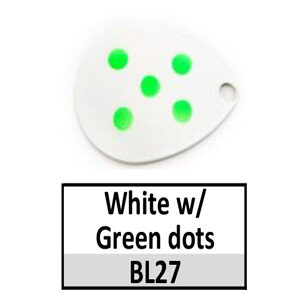 Size 4 Colorado Multi Dotted Basic Spinner Blades – White w/ Green dots BL27