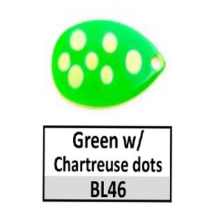 Size 5 Indiana Multi Dotted Basic Spinner Blades – Green w/ Chartreuse dots BL46