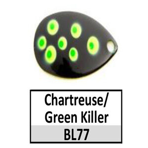 Size 5 Indiana Multi Dotted Basic Spinner Blades – Chartreuse/Green Killer BL77
