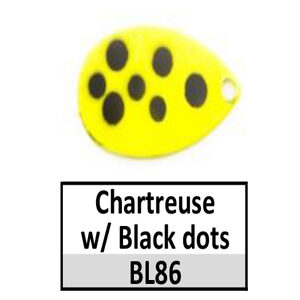 Size 5 Indiana Multi Dotted Basic Spinner Blades – Chartreuse w/ Black dots BL86