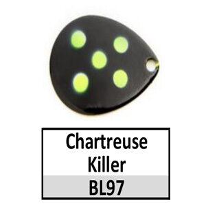 Size 6 Indiana Multi Dotted Basic Spinner Blades – Chartreuse Killer BL97-BL2-BL120